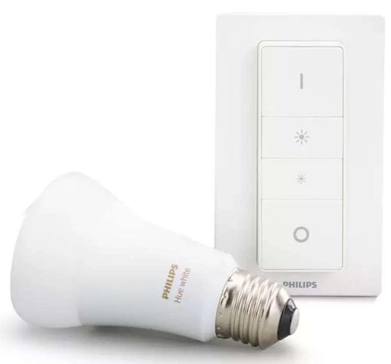 Philips Hue White E27 Wireless Dimming Bluetooth Starter Kit (9W, 806lm, 2700K, ZigBee & Bluetooth) für 18,49€