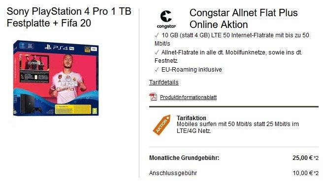 Congstar Telekom Allnet-Flat mit 10GB LTE PS4 Fifa 20