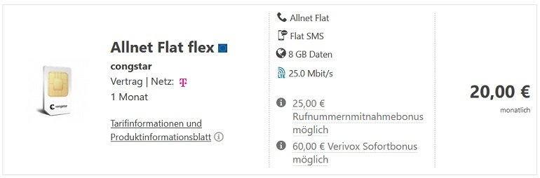 Telekom Congstar Allnet Flex mit 8GB LTE