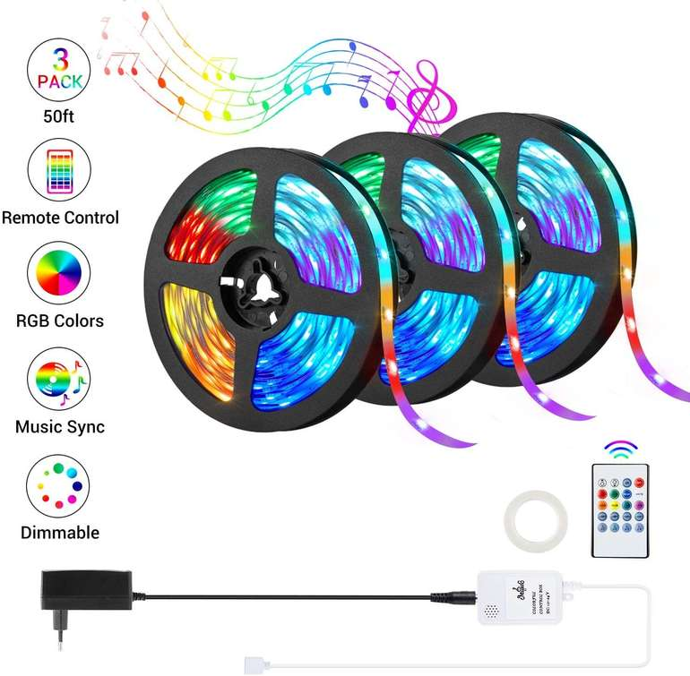 OxyLED RGB LED Streifen (3 x 5m, MusicSync) für 26,39€ inkl. Versand (statt 33€)