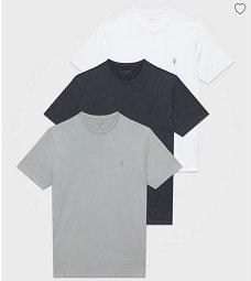 AllSaints mit 30% Rabatt auf alles, z.B. 3er Pack Brace Tonic T-Shirts für 75,60