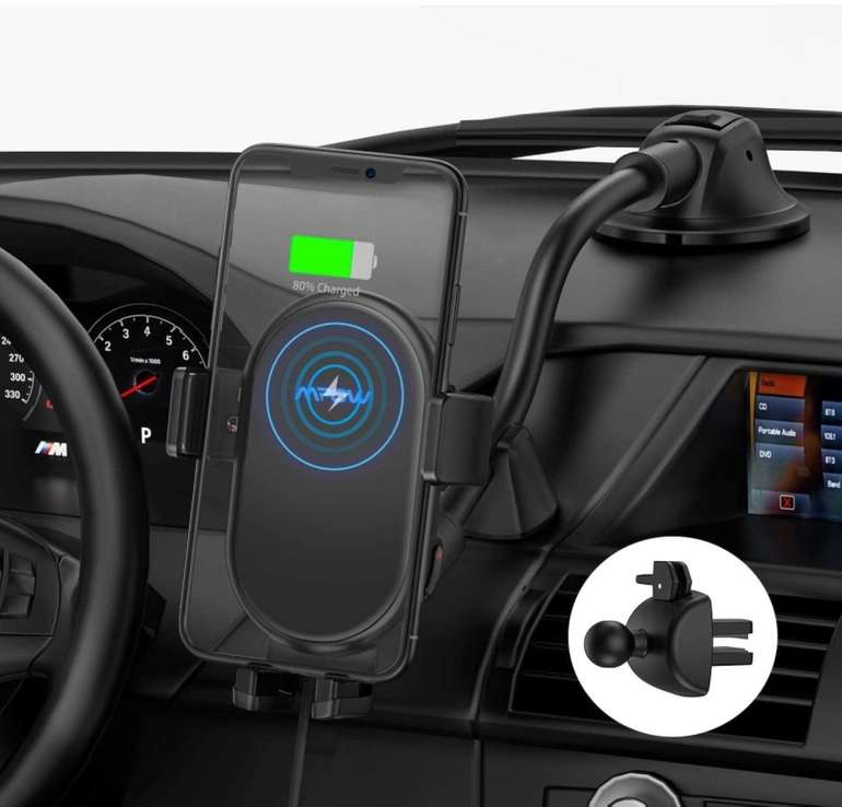 Mpow Kabelloses Qi Auto Ladegerät mit Handyhalterung für 17,99€ inkl. Versand (statt 30€)