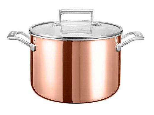 KitchenAid Kupfertopf mit Deckel (Ø 24 cm, 30 Jahre Garantie) für 85,90€ (statt 180€)