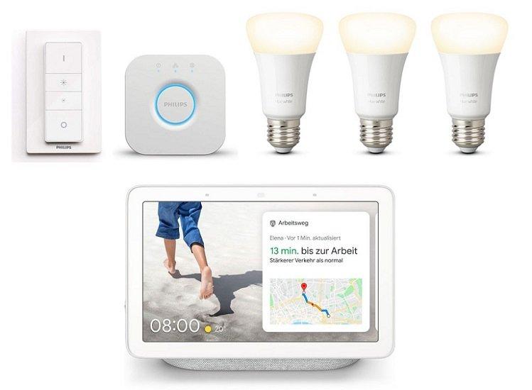 Philips Hue White E27 Bluetooth Starter Kit + Google Nest Hub für 124€ inkl. VSK