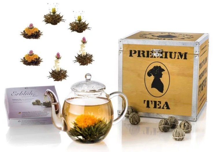 Creano Erblüh-Tee-Geschenksets im Angebot, z.B. 6x schwarzer Tee + Kanne für 24,49€