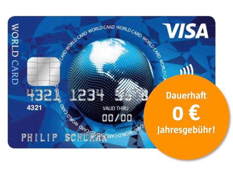 Visa World Card: Dauerhaft ohne Jahresgebühr, gebührenfrei im EU-Ausland + Wunsch-PIN