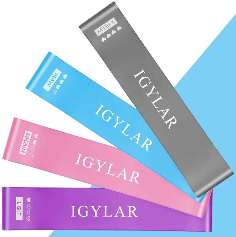 Igylar 4er Pack Fitnessbänder für 5,49€ inkl. Prime Versand (statt 11€)