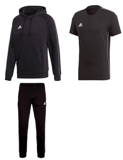 3-teiliges adidas Freizeit Set Core 18 (Hoodie, Hose & Shirt) für 46,90€