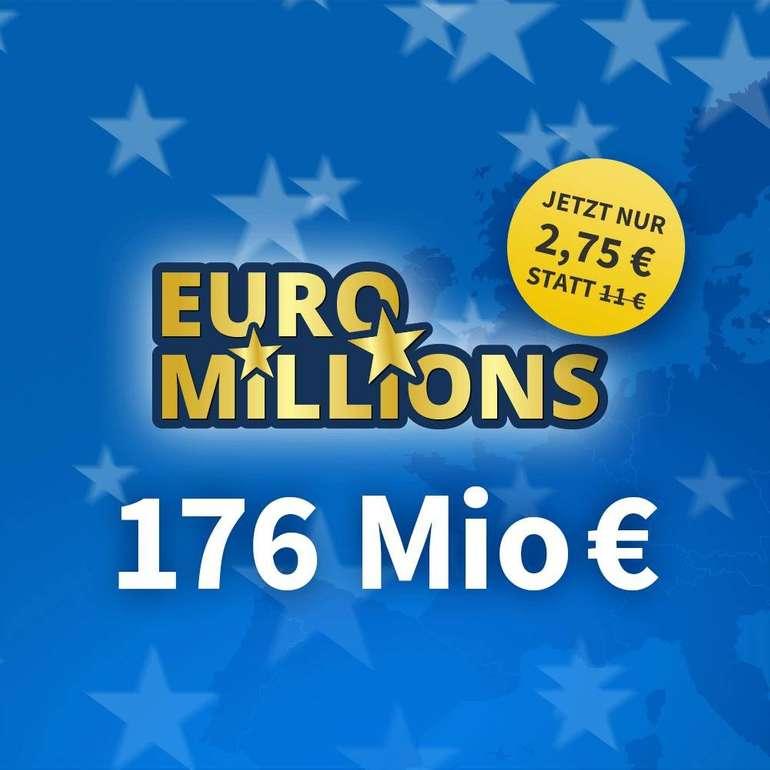 4 Felder EuroMillions nur 2,75€ (statt 11€) für Neukunden - 176 Mio € Jackpot!