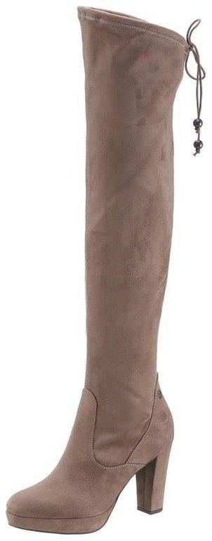 Schnell? Tamaris Damen Overknees Stiefel in beige in Größe 35 für 25,42€ (statt 79,99€)