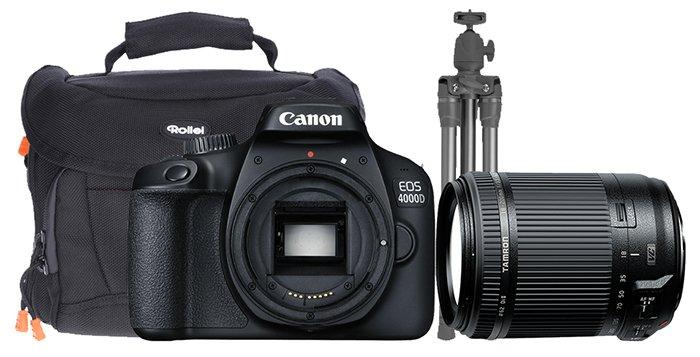 Canon EOS 4000D + 18-200mm Objektiv + Tasche + Stativ für 299€ (statt 485€)