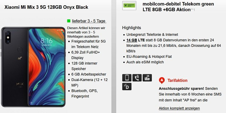 Xiaomi Mi Mix 3 5G Mobilcom-Debitel Telekom Allnet-Flat 14GB LTE