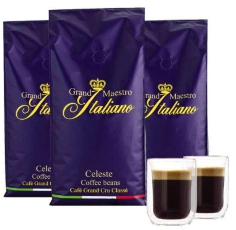 3kg Grand Maestro Italiano Celeste Kaffeebohnen + 2 Doppelwand Gläser für 39,94€ (statt 56€)