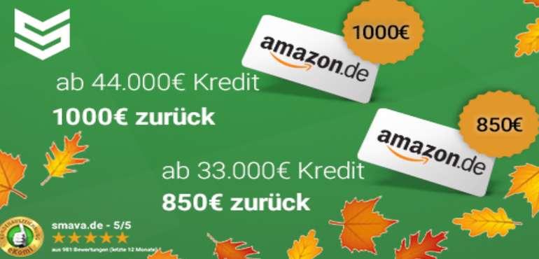 Smava Kredit ab 11.000€ aufnehmen und einen bis zu 1.000€ Amazon.de Gutschein bekommen