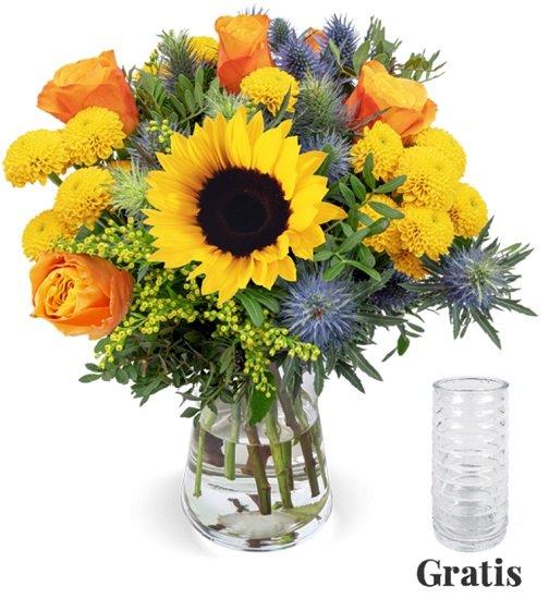 Blumenstrauß Sonnenkuss mit Sonnenblumen & Rosen für 28,98€ inkl. Versand (statt 36€) + gratis Vase