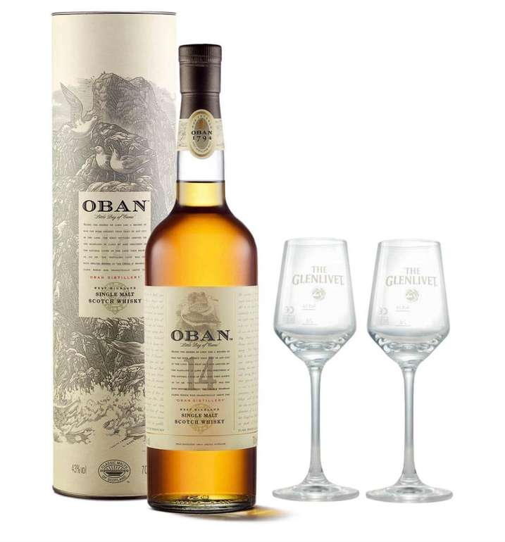 Oban 14 Years Single Malt Scotch Whisky (0,7 Liter) + 2 Nosing Gläser für 43,49€ (statt 57€)