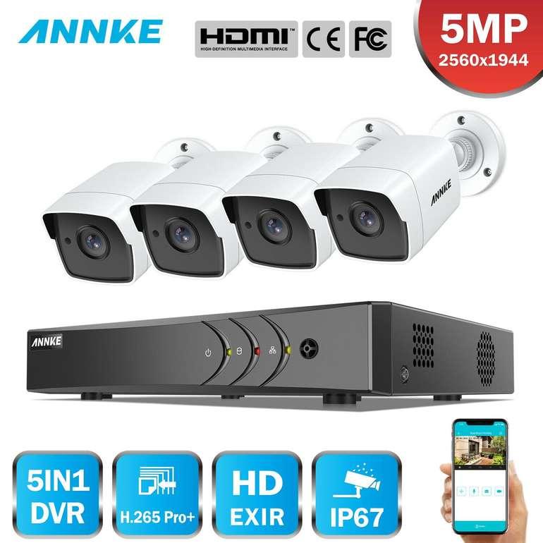Annke 4er Pack Überwachungskameras mit Nachtsicht (DVR, 8CH, 5MP) für 125,10€ inkl. Versand