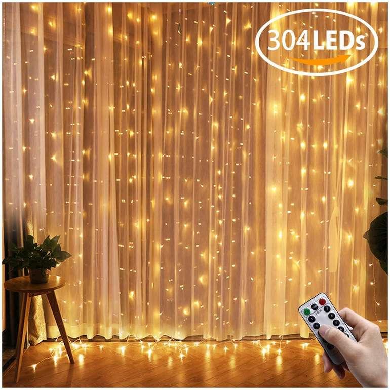 Ollny - 3x3m LED Lichtervorhang mit 304 LEDs (Fernbedienung & Timer) für 11,69€ inkl. VSK - Prime!