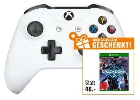 Xbox Wireless Controller (weiß oder schwarz) + Crackdown 3 ab 45€