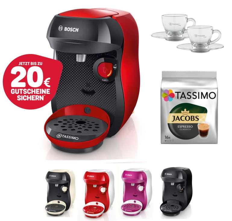 Bosch TASSIMO Happy Kapsel Maschine + Espresso Gläser-Set für 34,99€ (statt 43€) + 20€ Store Guthaben