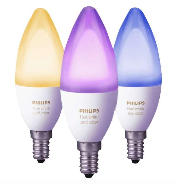 Dreierpack Philips Hue White & Color Ambiance E14 LED mit 6 Watt für 89€ (statt 109€)