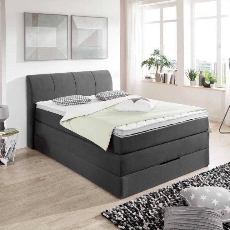 Carryhome Webstoff Boxspringbett (140/200 cm) + Matratze, Bettkasten und Topper für 491,52€ inkl. Versand