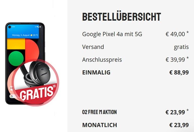 Google Pixel 4a 5G o2 Free M Allnet-Flat mit 20GB LTE 2