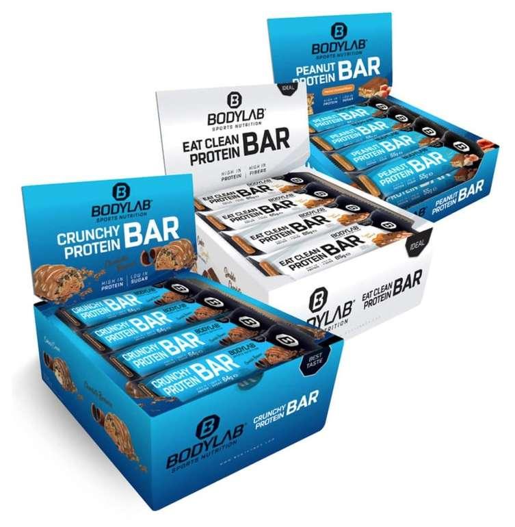 12x 55g Peanut Protein Bar Peanut Caramel + 12x 64g Crunchy Protein Bar + 12x 65g Eat Clean Protein Bar für 37,49€