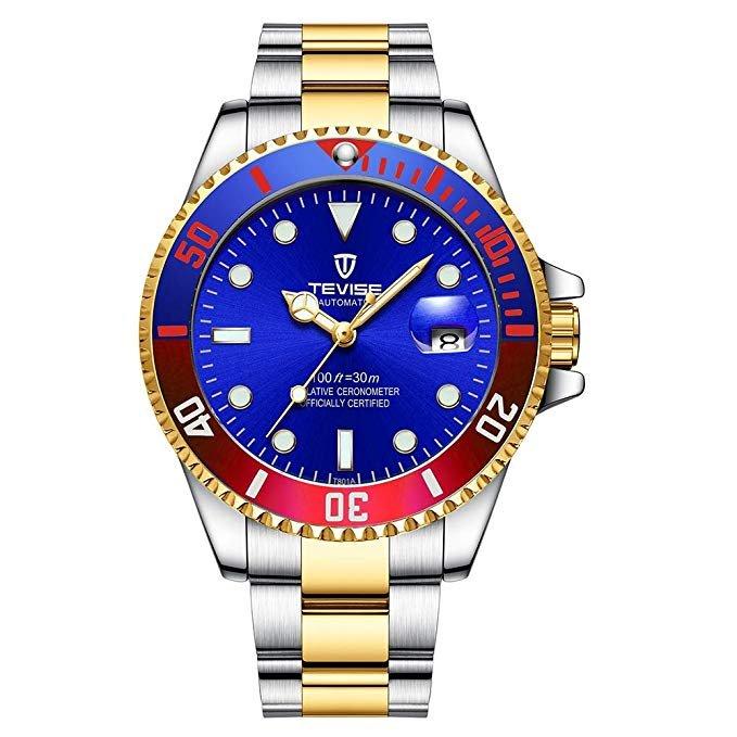 TEVISE T801 mechanische Edelstahl Armbanduhr in 7 Farben für je 21,99€ inkl. VSK