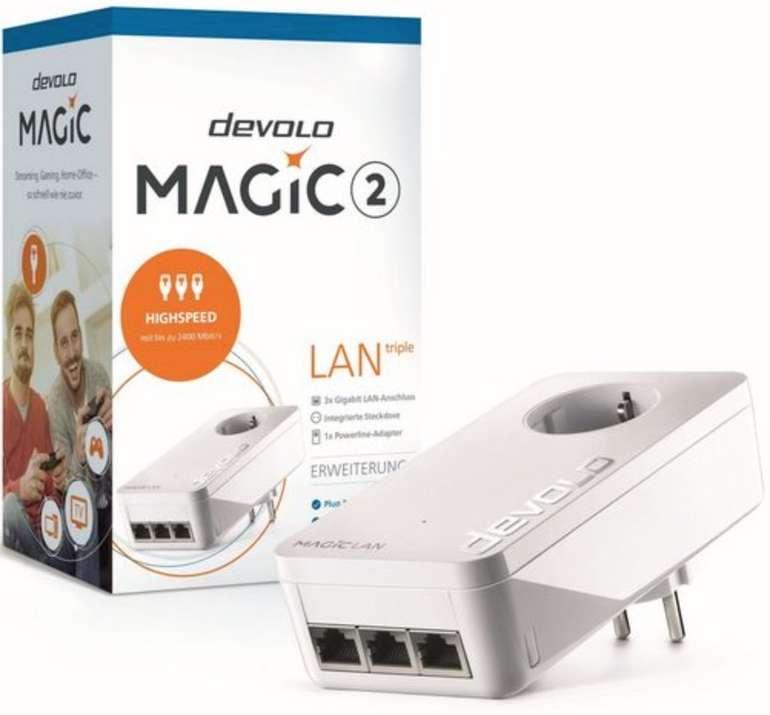 Devolo Magic 2 LAN Triple Einzeladapter 8502 (2400Mbit, Powerline, 3x GbitLAN, Heimnetz) für 62,85€