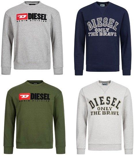 Diesel Herren Sweatshirts (verschiedene Modelle / S bis XL) für je nur 34,34€ zzgl. Versand