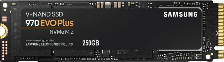 Samsung SSD 970 EVO Plus 250GB M.2 (PCIe 3.0 x4, R3500/W2300, 3D-NAND-TLC, 512MB Cache) für 52,44€