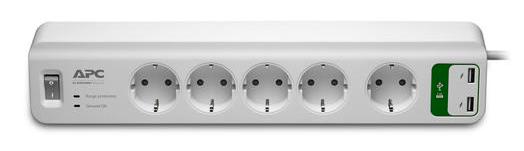 APC PM5U-GR Essential SurgeArrest 5-fach (2x USB) Steckdosenleiste für 14,90€