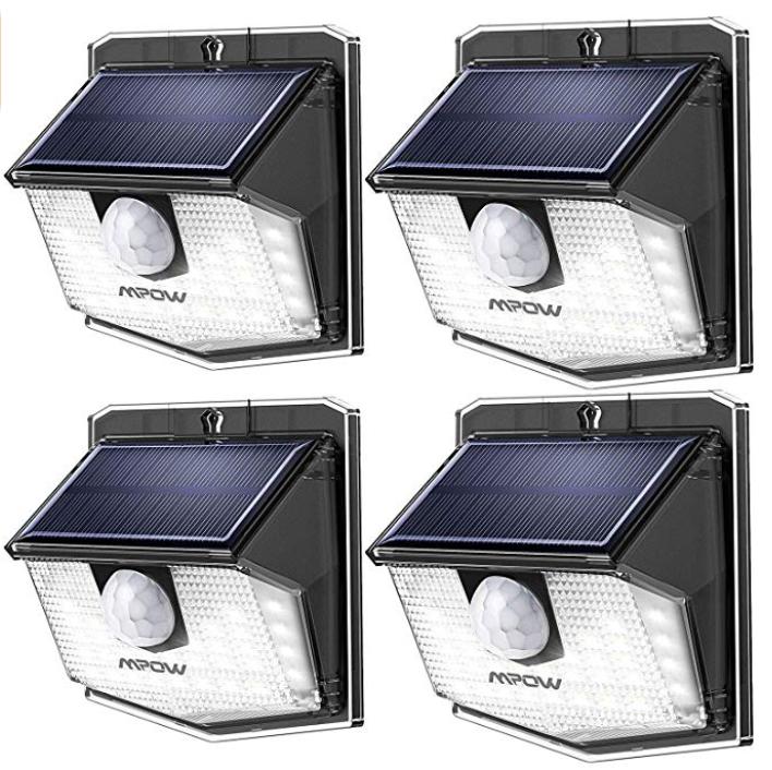 4er Pack Mpow Aussen-Solarlampen mit Bewegungsmelder und IP65-Schutz für 28,04€