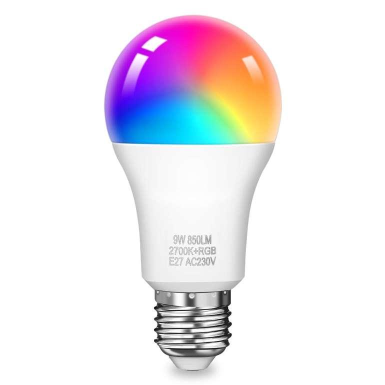 KingSo E27 RGB smarte Wifi Lampe mit 9W & 850LM (Alexa & Goole Assistant komptl.) für 9,79€ - Prime!