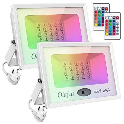 Olafus 2er Pack RGB LED Strahler mit Fernbedienung (IP66, 35 oder 60 Watt) ab 36,39€