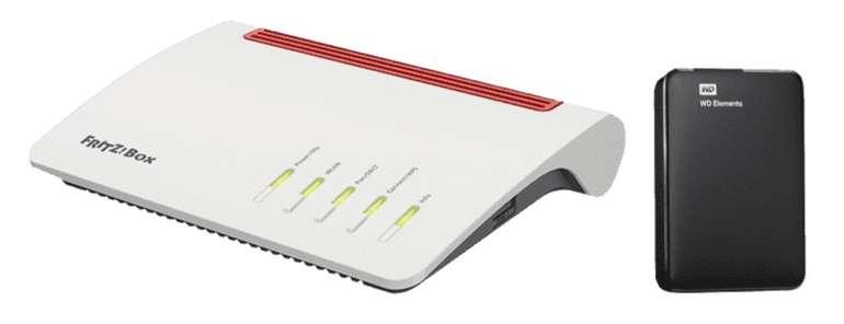 AVM Fritz!Box 7590 WLAN Mesh Router + WD Elements Portable - Externe 1TB Festplatte für 189€