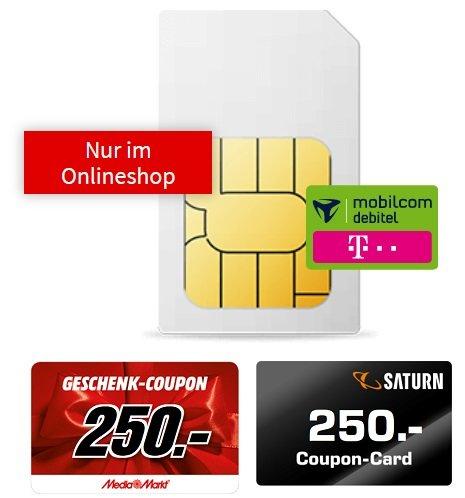 Sim Only Knaller! Telekom Allnet-Flat mit 18GB LTE für 21,99€ mtl. + 250€ Coupon (Media Markt / Saturn)