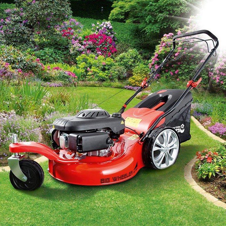 Powertec Garden Benzin-Rasenmäher 5in1 Big Wheeler 561 Trike für 199,30€