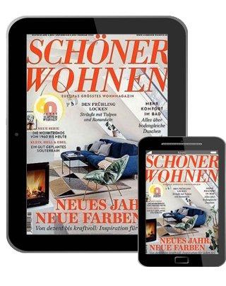 Schöner Wohnen E-Paper Jahresabo für 44,08€ + 45€ BestChoice Premium Gutschein oder 40€ Verrechnungsscheck