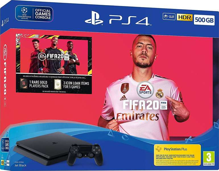 Sony PlayStation 4 Slim Jet Black 500GB + FIFA 20 Ultimate Team für 236,55€ inkl. VSK