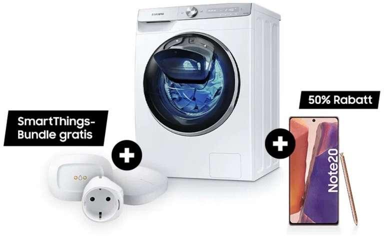Samsung Smart-Bundles: z.B. Waschmaschine WW5500T + Smart Things Set + Note 20 für 1.042,13€ (statt 1.350€)