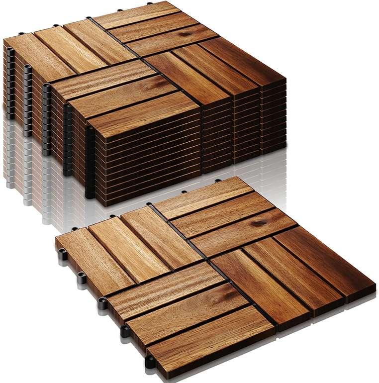 Sonug Akazienholz Holzfliesen reduziert, z.B. 11er Pack (1m²) für 22,39€ (statt 32€)