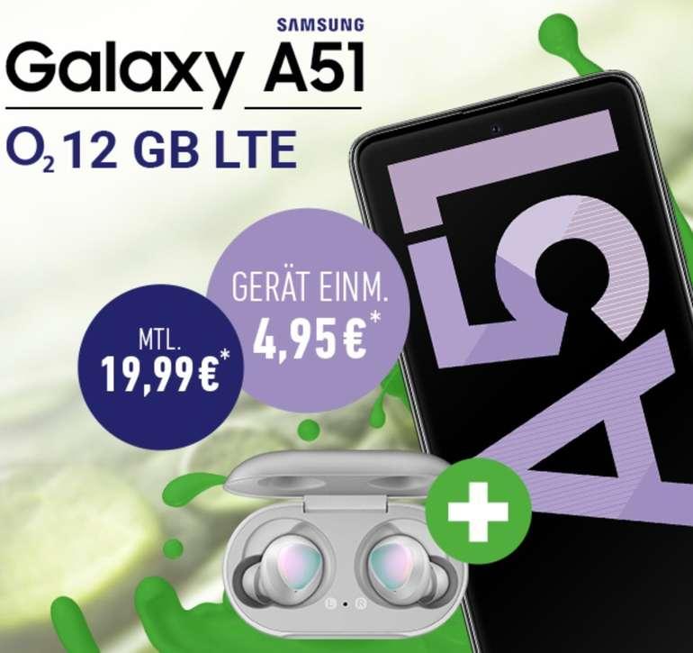 Samsung Galaxy A51 + Galaxy Buds (4,95€) + o2 Allnet-Flat mit 12GB LTE für 19,99€ mtl.