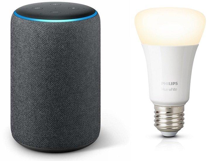 Amazon Echo Plus (2nd Gen.) sprachgesteuerter Lautsprecher + Philips Hue Lampe für 73,10€ inkl. Versand (statt 85€)