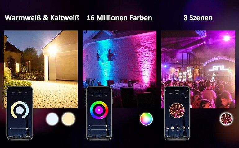 2er Pack Novostella smarte RGB LED 20 Watt Strahler 2