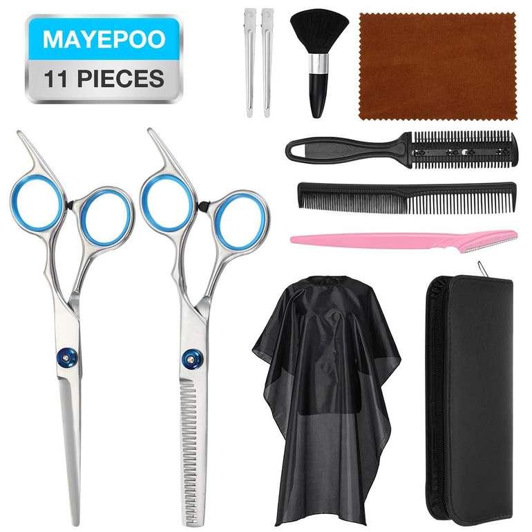 11-teiliges Mayepoo Friseurset mit Ledertasche für 12,99€ inkl. Prime Versand (statt 20€)