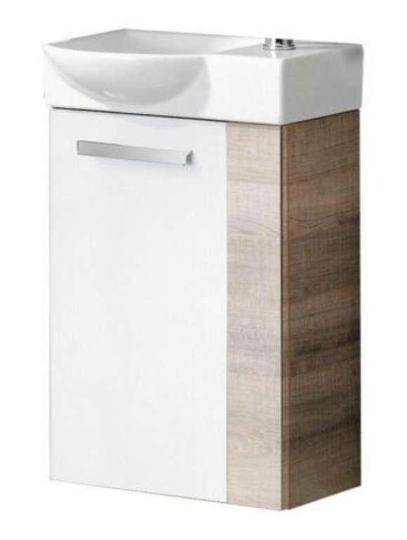 Fackelmann A-VERO Badmöbel Set zweiteilig Gäste WC Braun Weiß ohne Armatur für 184,99€ inkl. Versand