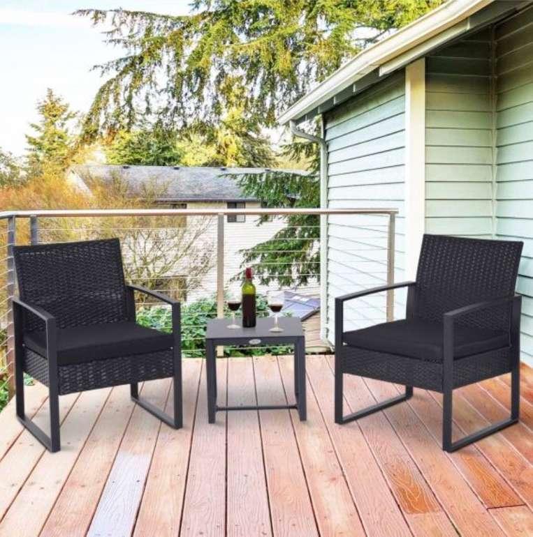 5-tlg. Outsunny Polyrattan Sitzgruppe (Couchtisch + 2 Stühle + 2 Kissen) für 119,99€ inkl. Versand (statt 199€)