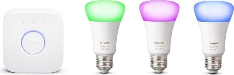 Philips Hue White and Color Ambiance Starter Kit (3 x E27 Bluetooth + Bridge) für 89,99€ (statt 130€)